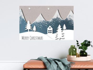Artistic paper cut Christmas card design