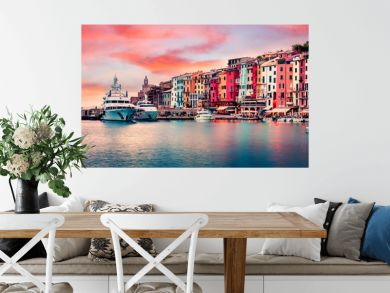 Unbelievable sunrise in Portovenere town. Picturesque spring seascape of Mediterranean sea,  Liguria, province of La Spezia, Italy, Europe. Traveling concept background.