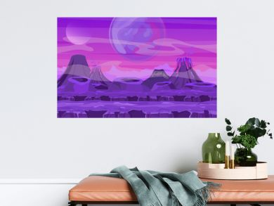 Vector illustration of space landscape with pink planet view. Mountains and volcanos, other planets in the sky. Fantastic alien landscape in red colors, sci-fi background for UI Game in flat cartoon