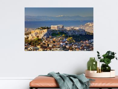 Aerial view over Athens with te Acropolis and harbour from Lycabettus hill, Greece at sunrise