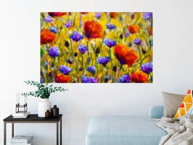 Field of flowers Impressionism modern oil painting - red flowers poppies blue flowers of cornflowers close-up illustration. Flower modern landscape artwork for poster, for fabric