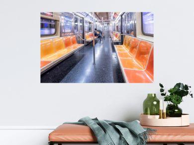 NEW YORK CITY - DECEMBER 2018: Interior of New York City subway train, wide angle view