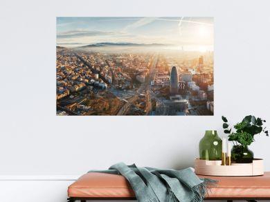 Barcelona skyline aerial view