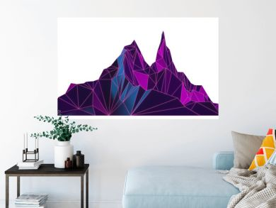 Low poly dark image of high mountains with neon contours on white background isolated 3D illustration
