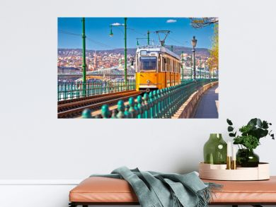 Budapest Donau river waterfront historic yellow tramway view