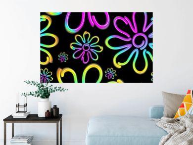 Daisy Spring Flower Psycnedelic Neon Light Vector Seamless Pattern Design
