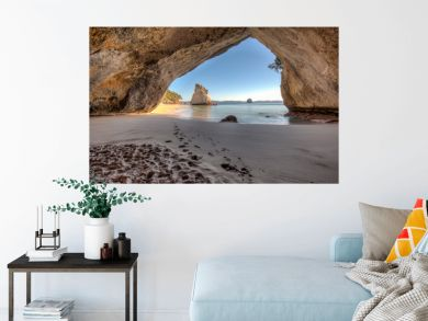 View from inside the tunnel or cave at Cathedral Cove New Zealand