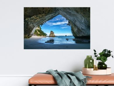 view from the cave at cathedral cove,coromandel,new zealand 45