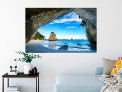 view from the cave at cathedral cove,coromandel,new zealand 50