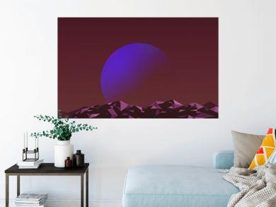 Space scene synthwave landscape background