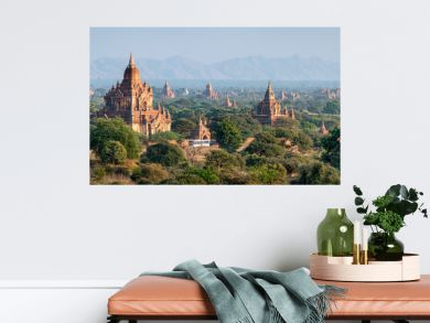 Temples and pagodas in Bagan as panorama background