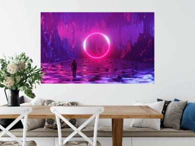 A man, an astronaut, stands on the surface of an alien planet and looks at a circle of neon. Silhouette against the backdrop of a fantastic landscape. 3d rendering.