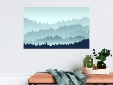 forest landscape. Vector illustration. Layered trees background. Outdoor and hiking concept