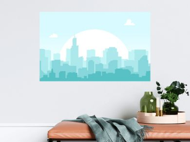 Seamless silhouette of the city. Cityscape with buildings. Simple blue background. Urban landscape. Beautiful template. Modern city with layers. Flat style vector illustration.