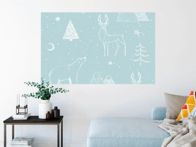 Seamless Christmas pattern with white bear, reindeer / deer, mountains, moon, spruce on blue background. Graphic illustration. Forest scene.
