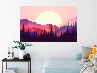 Sunset in the mountains, beautiful landscape, big sun, forest silhouette.