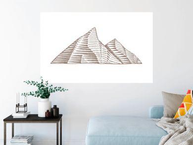 Brown Ink Sketch of Mountains Illustration