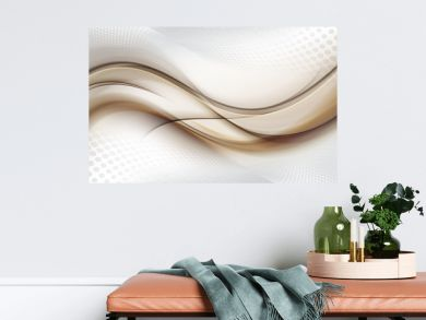 Grey white halftone background with brown blurred abstract waves.