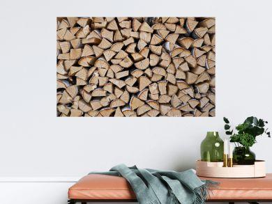 stacked birch firewood