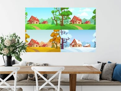 Cartoon house in woods. Forest village four seasons landscapes. Spring, summer, autumn and winter trees. Forests house landscape, rural home or wood village cottage vector illustration