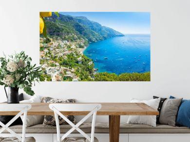 Beautiful Positano and clear blue sea on Amalfi Coast in Campania, Italy. Amalfi coast is popular travel and holyday destination in Europe.