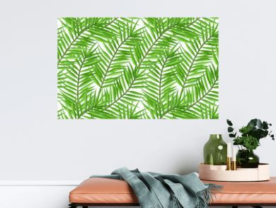 Watercolor tropical palm leaves seamless pattern.   Hand Drawn seamless tropical floral pattern.