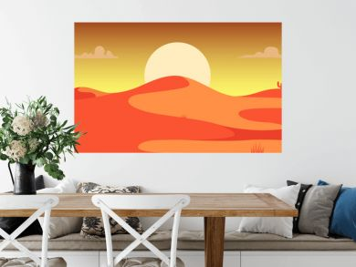 Desert landscape with cactuses and mountains in cartoon style. Design element for poster, card, banner, flyer.