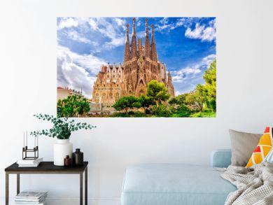 BARCELONA, SPAIN - SEPTEMBER 15,2015 :  Sagrada Familia  in  Barcelona. Sagrada  - the most known the buildings created by Antoni Gaudi.