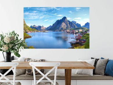Panoramic view of Reine fishing village, Lofoten, Norway