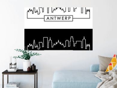 Antwerp skyline. Linear style. Editable vector file.