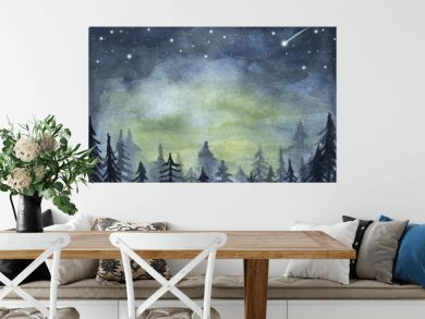 Peaceful spruce forest under night sky full of stars. Fog forest landscape. Watercolor illustration.