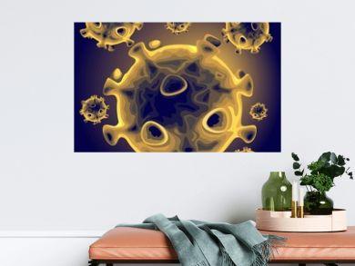 Coronavirus microscopic view of Covid-19 infection vector Background illustration