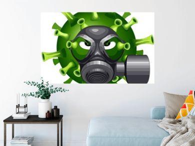 Coronavirus Evil Virus Cartoon Character with Mask against Covid-19 Vector illustration isolated on white.