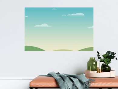 beautiful landscape with green mountains and a coudy sky in cartoon style - simple graphic landscape background with clean gradient