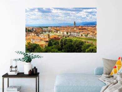 Panoramic view, aerial skyline of Florence Firenze on blue backdrop. Famous european travel destination. Beautiful architecture renaissance church. Summer landscape banner. Florence, Tuscany, Italy