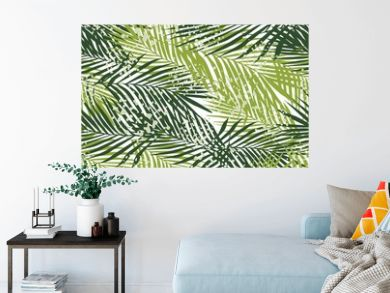 Exotic fern leaves seamless pattern on white background. Tropical palm leaf wallpaper.