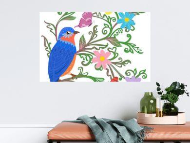 cute blue bird sitting on twigs of green leaves ornament surroun