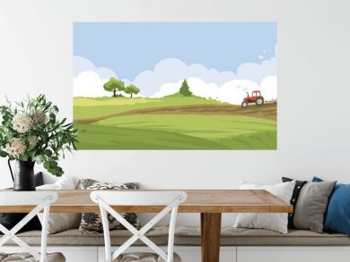 Abstract rural landscape. Watercolor illustration, tractor plows a field.