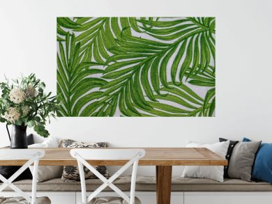 Green palm leaf tree blurred abstract texture background. Ecology and environment concept