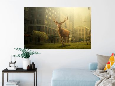 view of deer in a dead city, Dreaming concept