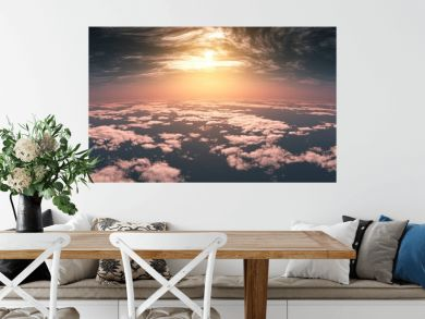 Beautiful clouds, panorama of clouds, above the clouds, clouds from above, flying above