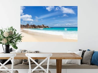 Seychelles Grand Anse beach La Digue island panoramic panorama view vacation holidays travel traveling