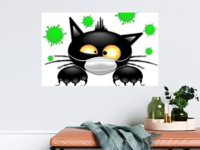 Cat with Face Mask scared by Virus Covid19 Humorous Cartoon Character