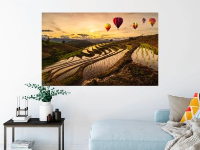 Colorful Hot Air Balloons of Pa Bong Piang terraced rice fields in sunset, Mae Chaem, Chiang Mai in Thailand.