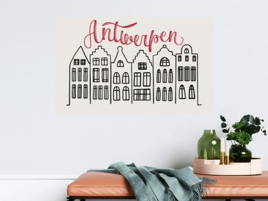 Vector illustration of word Antwerpen with flemish houses icons for souvenir products, icon or emblem, screensaver for site, article and advertising. Hand drawn lettering. City logotype.