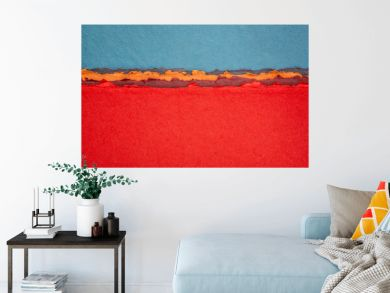 blue and red  abstract landscape created with handmade Indian paper