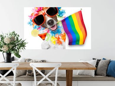 gay pride dog with rainbow gay flowers