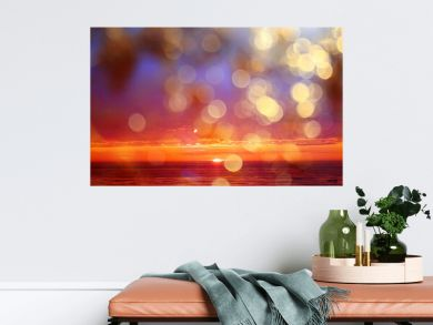 abstract sunset on the lake, landscape water and sky, blurred view freedom nature concept