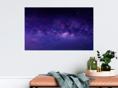 Panorama blue night sky milky way and star on dark background.Universe filled with stars, nebula and galaxy with noise and grain.Photo by long exposure and select white balance.selection focus.amazing