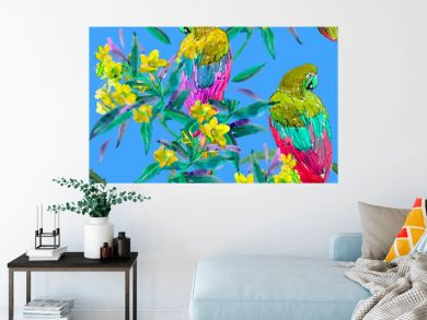 Seamless Pattern Hand Painted Watercolor Artwork Illustration  Parrots Birds with Exotic Tropical Flowers on Blue Background